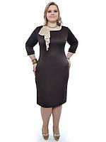 Женское платье большего размера коричневое, фото 1