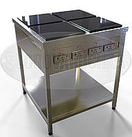 Электроплита Профессиональная (индукционная) - 8 кВт, 4 (четыре) конфорки, напольная