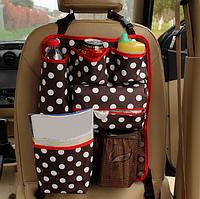 Органайзер для автомобиля на спинку заднего сиденья с термокарманом 35*47см Коричневый горох (04147)