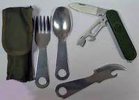 Набор туриста 4 в 1, в чехле (нож, вилка, ложка) М5, посуда для туриста , качество и удобство