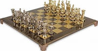 Шахматы в деревянном футляре с фигурами из латуни Греко-Римские Manopoulos S11BRO коричневый