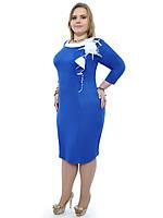 Сукня більшого розміру синє класика, фото 1