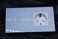Дизайнерский Выключатель сенсорный + розетка , 1 линия 800вт, закаленное стекло, 3 цвета Smart Home