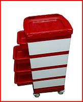 Красно-белая парикмахерская тележка на 4 полочки