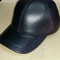 Кожаная мужская бейсболка чёрная размеры- 56, 57, 58, 59, 60.