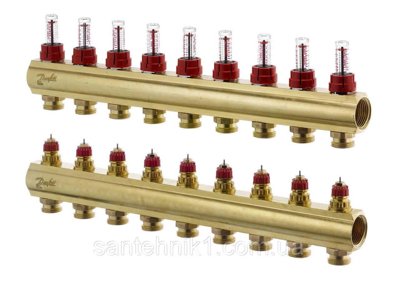 Распределительный коллектор Danfoss FHF-9F, с расходомерами на 9 выходов. Арт. 088U0529