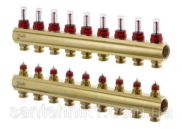 Распределительный коллектор Danfoss FHF-9F, с расходомерами на 9 выходов. Арт. 088U0529, фото 2