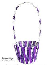 Кошик для квітів з рафії фіолетова