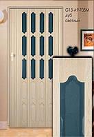 Дверь складная (ширма-гармошка) 86 x 203 (см) Стекло  Дуб светлый, фото 1