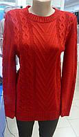 Яркий женский вязанный свитер цвет вино 42-44