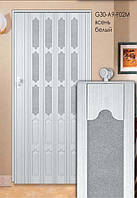 Дверь складная (ширма-гармошка) 86 x 203 (см) Стекло  Ясень белый
