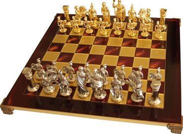 Шахматы в деревянном футляре Греко-Римские Manopoulos S11RED красный