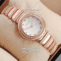 Часы женские Bvlgari slim crystal pink/gold/white. Реплика, фото 1