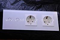 Выключатель сенсорный  + 2 розетки , 2 линия 800вт, закаленное стекло, 3 цвета Smart Home с розеткой