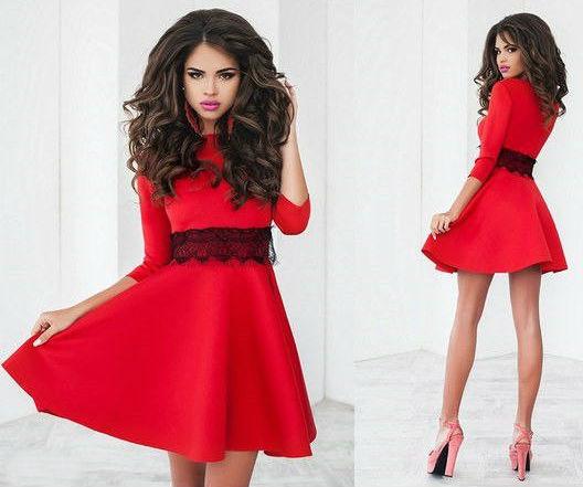 """Расклешенное платье с рукавом """"Лолита красный"""""""
