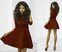 """Расклешенное платье с рукавом """"Лолита шоколад"""""""
