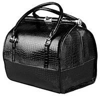 Кейс для косметики профессиональный со съемным органайзером, черный лаковый