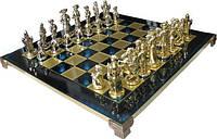 Шахматы в деревянном футляре с фигурами из латуни Мушкетеры Manopoulos S12BLU
