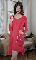 Женский комплект халат байковый с ночной рубашкой SIS-154
