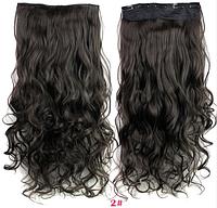 Трессы волнистые черно-коричневый волосы на клипсах 60*25см