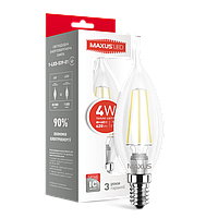 LED лампа MAXUS Filament C37 FM-T 4W 3000K 220V E14 (1-LED-539-01)