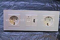 2 розетки+USB зарядка+HDMI закаленное стекло, модули Smart Home c розеткой выключателем сенсорным