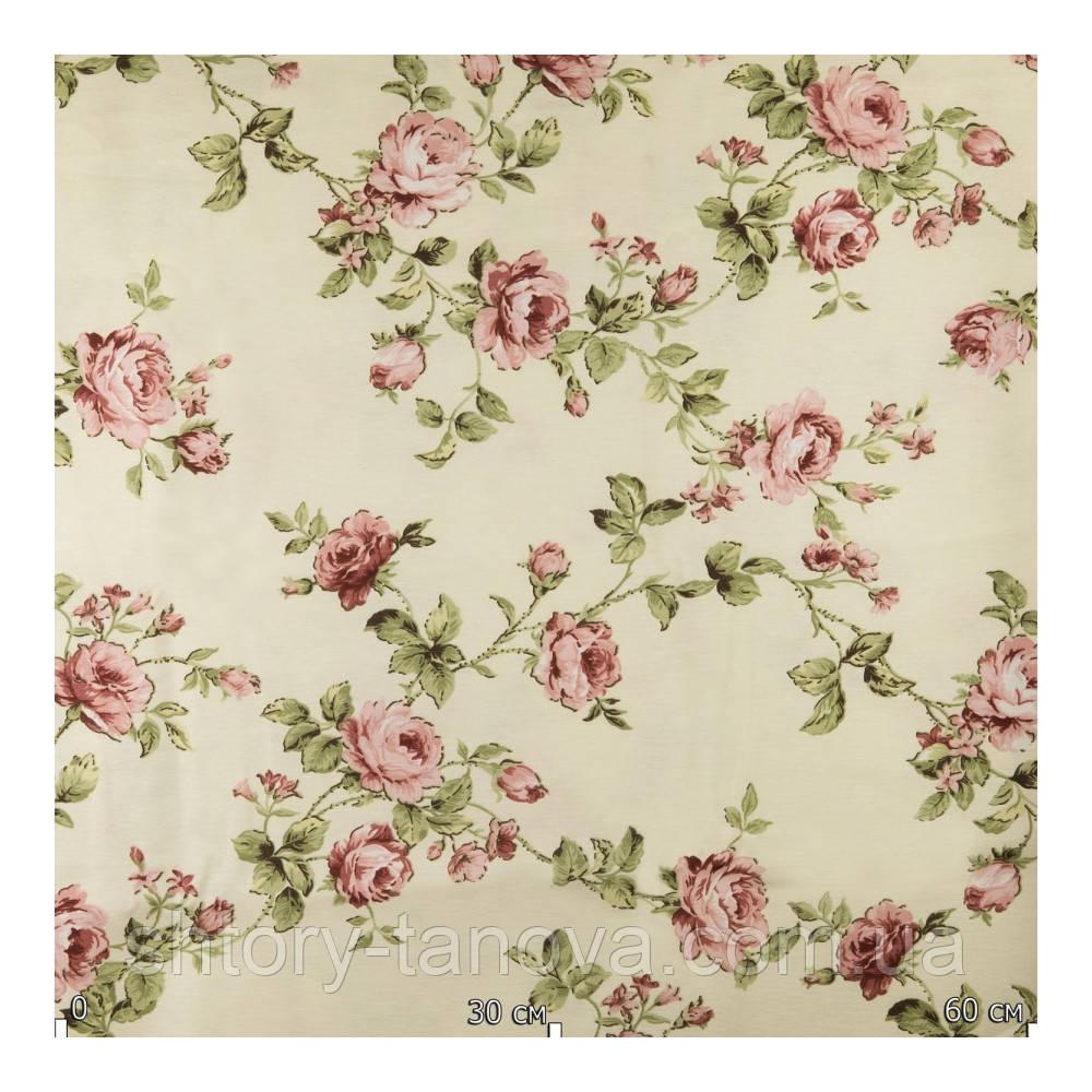Тканина для штор з трояндами