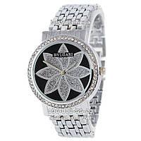Часы женские Bvlgari silver/black (Кварц). Реплика