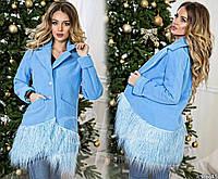Пальто из кашемира с перьями ламы