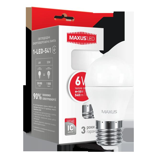 LED лампа MAXUS G45 6W 3000K 220V E27 (1-LED-541)