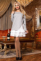 Нарядное Стильное Платье к Любому Мероприятию Серый + Белый р. 42-50