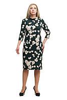 Женское повседневное платье большого размера 1705020/1 Бутылочный зеленый