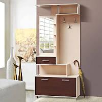 Шкаф в прихожую в современном стиле Амина 1000*2155*405 темный венге/светлый венге