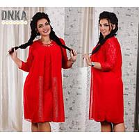 Вечернее женское платье с камнями размер 56 Красный цвет