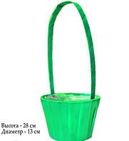 Корзина для цветов из атласа зеленая