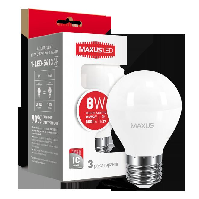 LED лампа MAXUS G45 F 8W 3000K 220V E27 (1-LED-5413)