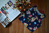 Короткий женский топ без рукавов принт голубые Розы