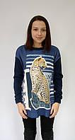 Джемпер Леопард темно-синий