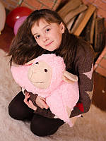 Мягкая игрушка Овечка (игрушка-подушка) розовая