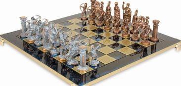 Шахматы в деревянном футляре с фигурами из латуни Лучники Manopoulos S15BLU синий