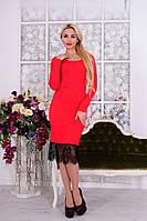 Красное трикотажное  женское платье с кружевом   Альтера Ажур Джерси  Modus  44-48 размеры