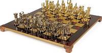 Шахматы в деревянном футляре с фигурами из латуни Лучники Manopoulos S15RED красный