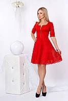 Нарядное гипюровое платье с короткой пышной юбкой, красного цвета