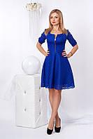 Нарядное гипюровое платье с короткой пышной юбкой, синий электрик