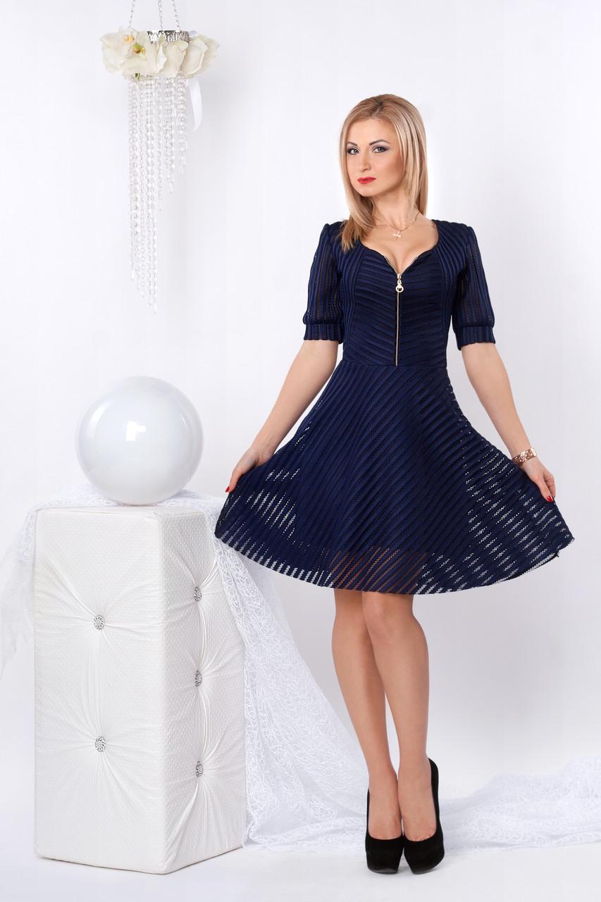 Нарядное гипюровое платье с короткой пышной юбкой, темно-синего цвета  - Интернет-магазин «Omoda» в Киеве