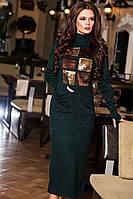 Модное  зеленое  ангоровое платье с пайетками. Арт-9200/57