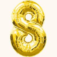 Шар цифра - 8. Цвет: золото. Размер: 60см. Материал: фольга.