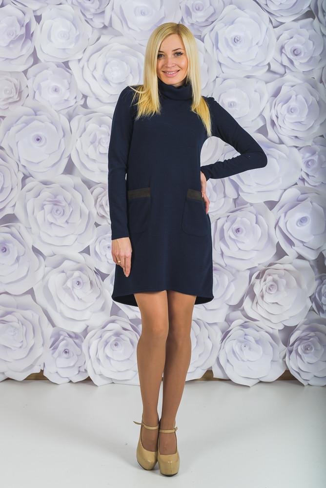 Стильное трикотажное платье темно-синее