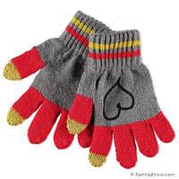 Перчатки под берет, пальцы TOUCHE SCREENE, девочка , серо-алый 163BGLC001 BRUMS, Италия