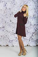 Стильное трикотажное платье бордо, фото 1